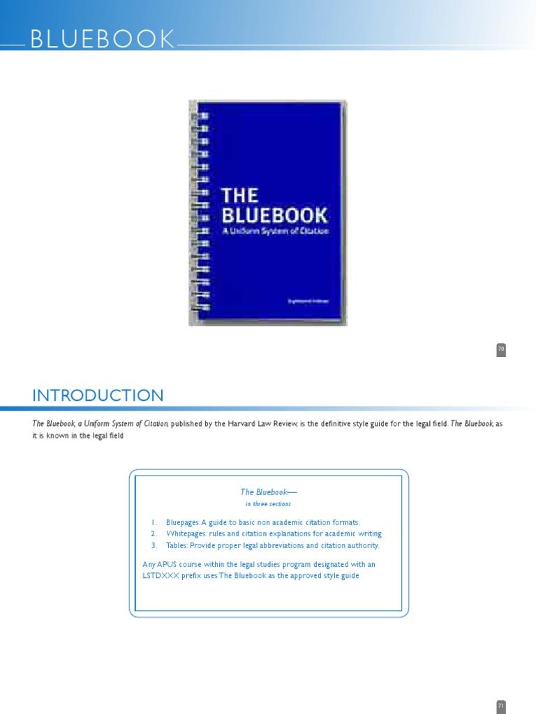 Bluebook Case Citation Citation