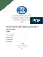 Estudio de Los Procesos de Reciclaje de Papel Para Disminui La Contaminación en El Medio Ambiente Provocado Por Los Deshechos de Papel