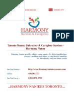 Toronto Nanny, Babysitter & Caregiver Services - Harmony Nanny