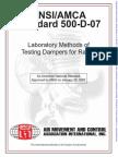 AMCA 500-D-07 Damper Testing
