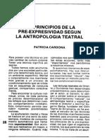 Patricia Cardona, Los Pincipios de La Pre-Expresividad Según La Antropología Teatral