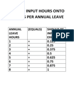 How to Input Hours Onto Excel as Per Annual Leave
