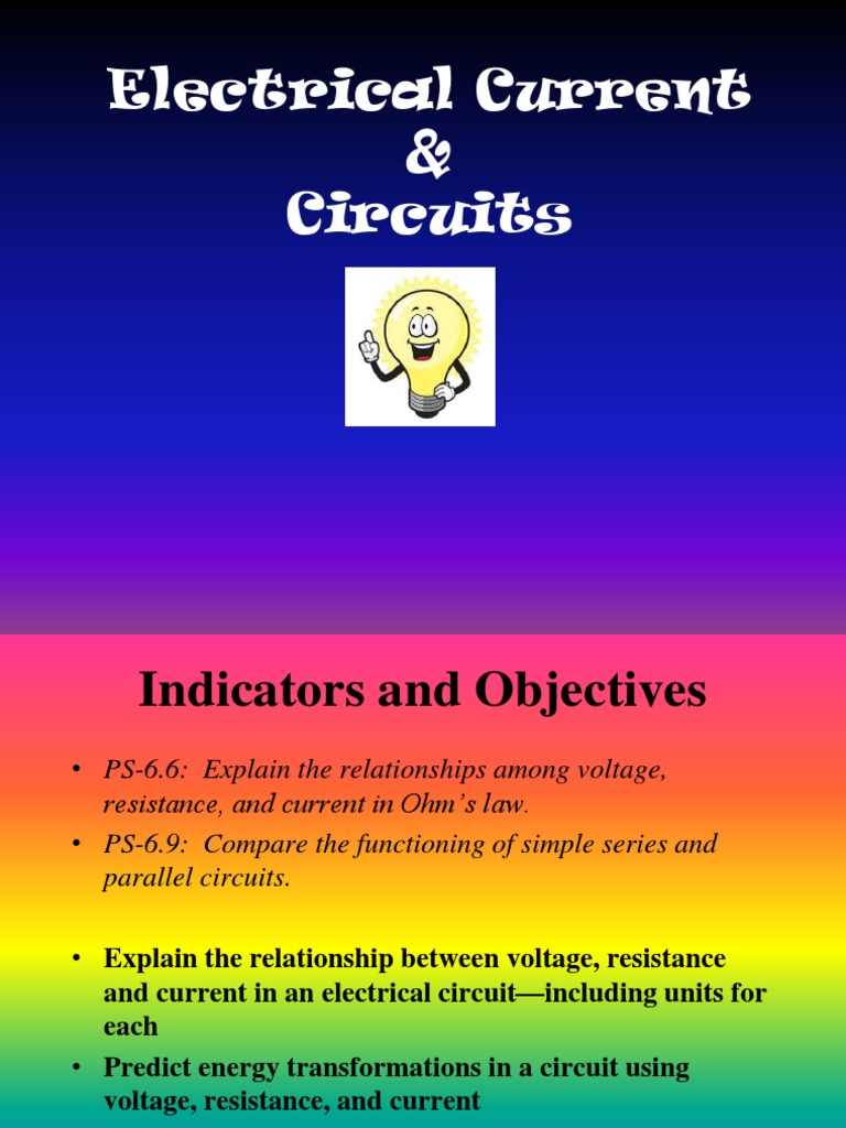 Electric Current And Circuits Powerpoint Series Parallel Resistances In Electrical