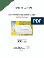 Von Berg Bioset 3700 ECG - User Manual