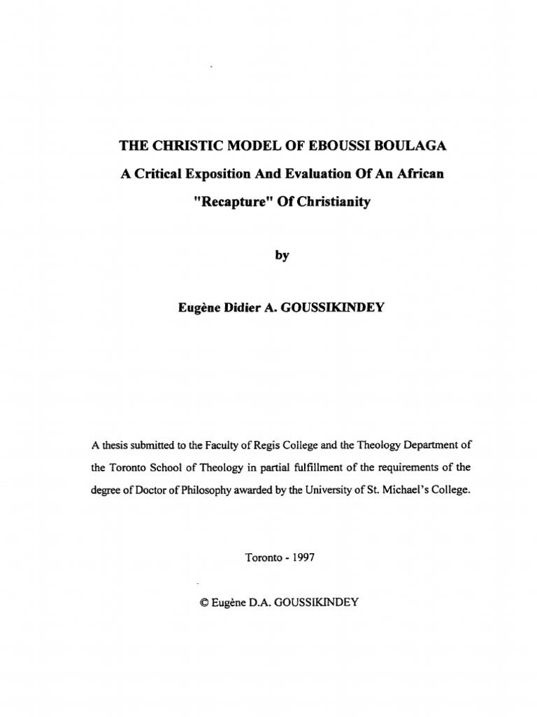 Modelo Cristico Ebousi Boulaga World View Theology