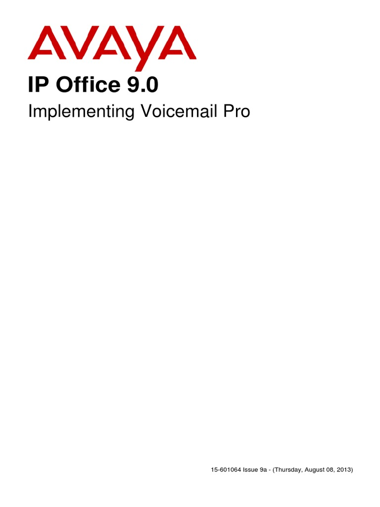 Avaya IP Office 9 0 Implementing Voicemail Pro | Voicemail