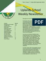 Uplands School Weekly Newsletter - 26 Sept 2014