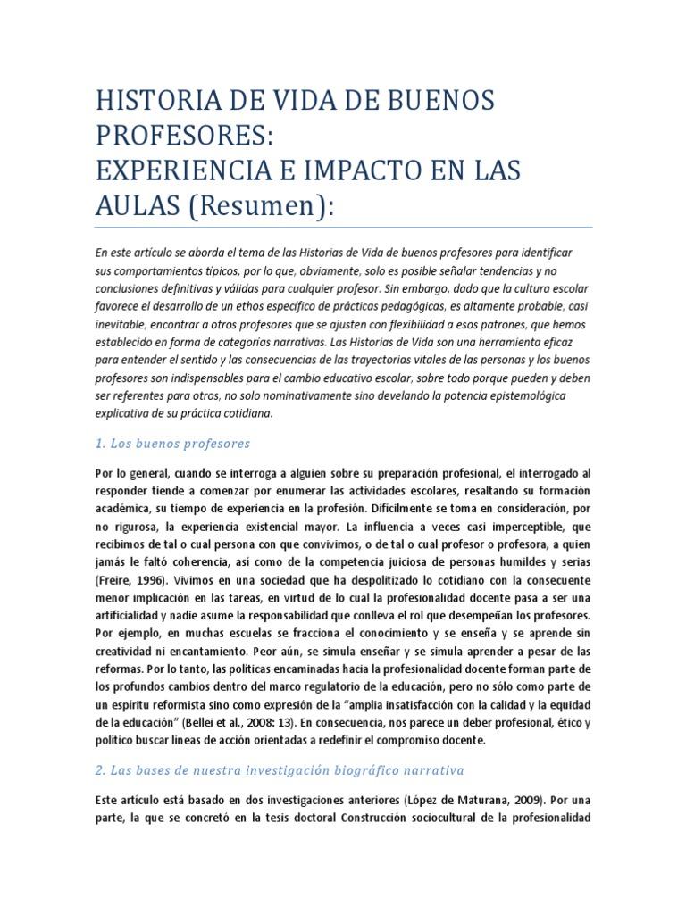 Historia de Vida de Buenos Profesores