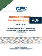 Ntd 1.04 - Criterios de Projeto e Padroes de Construcao de Rede de Distribuicao Subterranea