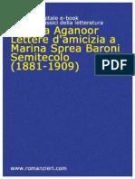 Vittoria Aganoor - Lettere a Marina Sprea Baroni (1881-1909)