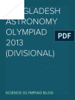 Bangladesh Astronomy Olympiad, 2013 (Divisional Round)