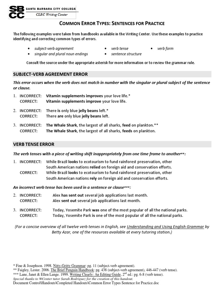 Common Error Types Sentence For Practice Verb Grammatical Number