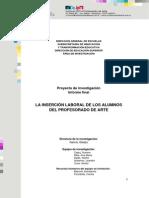 Proyecto La Insercion Laboral de Los Alumnos Del Profesorado de Arte