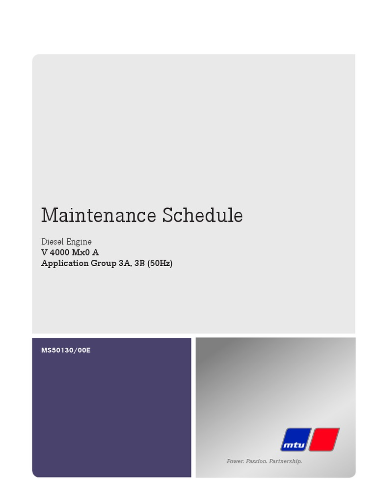 MTU 4000 Maintenance Schedule | Turbocharger | Cylinder (Engine)