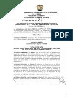 Ordenanza Plan de Desarrollo Bolivar Ganador 2012-2015