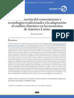 Contribución del conocimiento y tecnologías tradicionales a la adaptación al cambio climático en las montañas de América Latina
