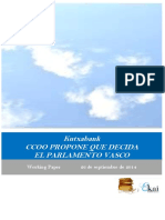 Kutxabank. CCOO PROPONE QUE DECIDA EL PARLAMENTO VASCO
