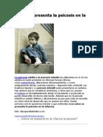 Cómo Se Presenta La Psicosis en La Infancia