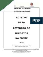 Instrução 002-2014 - Roteiro Retenção Impostos