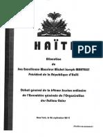 Discours de Michel Joseph Martelly, ONU, le 26 Septembre 2014