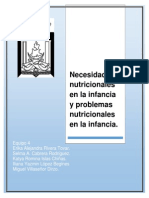 Necesidades Nutricionales en La Infancia y Problemas Nutricionales en La Infancia.