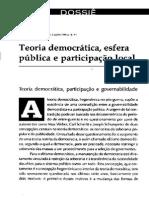 Teoria Democrática, Esfera Pública e Participação Local