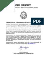 Ardhi Undergraduate Admission 2014/2015