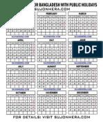 2014 Calendar for Bangladesh With Public Holidays