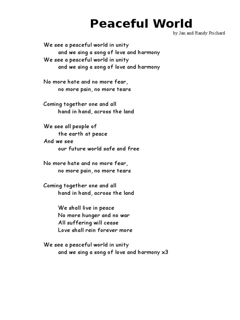 Peace world lyrics