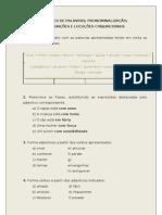 CLASSES DE PALAVRAS; PRONOMINALIZAÇÃO;CONJUNÇÕES E LOCUÇÕES CONJUNCIONAIS