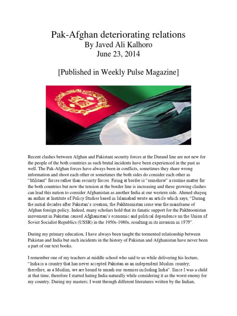 history of pakistan and afghanistan relations