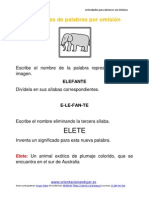Ejercicios Para Niños Con Dislexia Omisión de Sílabas Plantilla