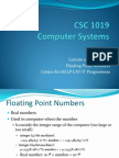 Lecture 05 - Floating Point Numbers