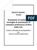 Evaluation of Marketing Strategies & Assessment of Consumer Preferences of Bata India Ltd.