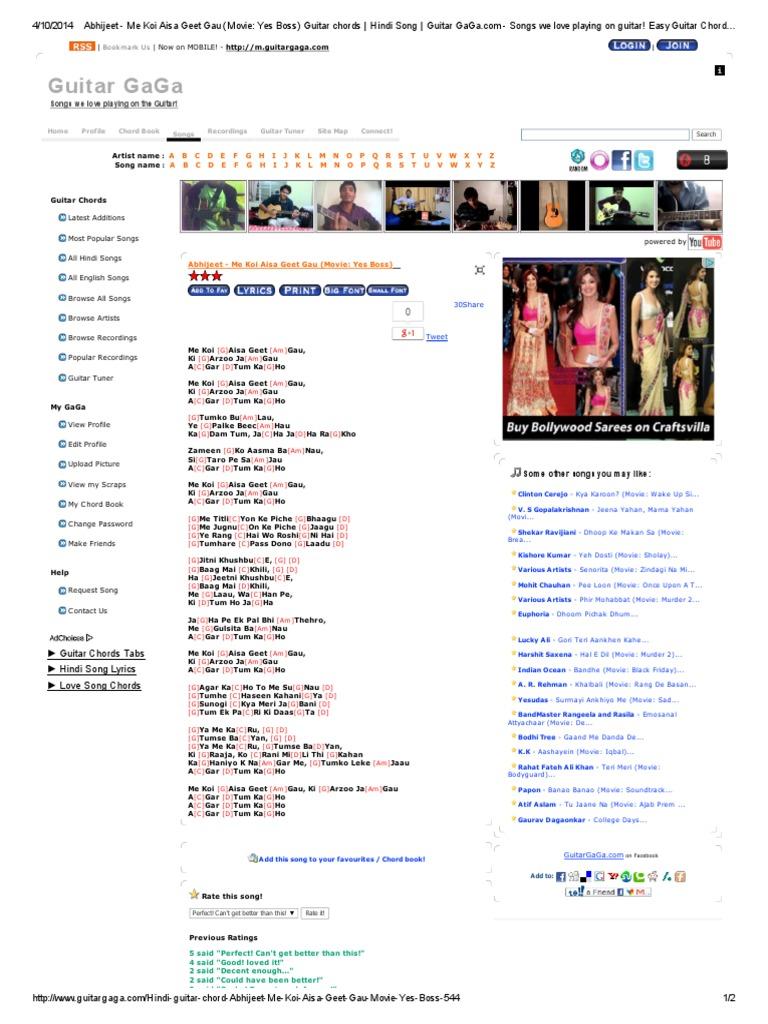 Abhijeet Me Koi Aisa Geet Gau Movie Yes Boss Guitar Chords Hindi Song Guitar Gaga Bollywood Leisure Most accurate online guitar lessons. me koi aisa geet gau movie yes boss