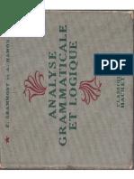 Manuels Anciens Grammont, Hamon, Analyse Grammaticale Et Logique (1951)