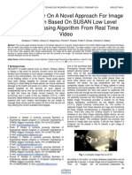 A Survey Paper on a Novel Approach for Image Classification Based on Susan Low Level Image Processing Algorithm From Real Time Video