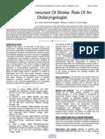 Vertigo a Precursor of Stroke Role of an Otolaryngologist