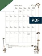 2014 Conjunction Hebrew Holy Day Calendar