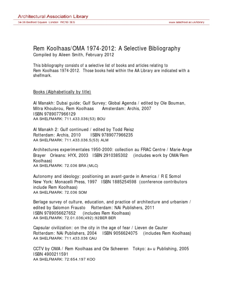 Rem Koolhaas Oma 1974-2012 Bibliography   European Architecture ...
