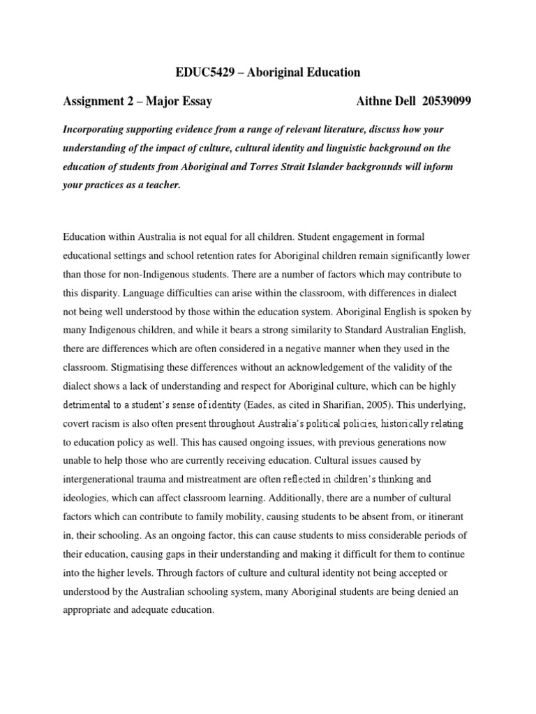 aboriginal education essay indigenous ns dialect