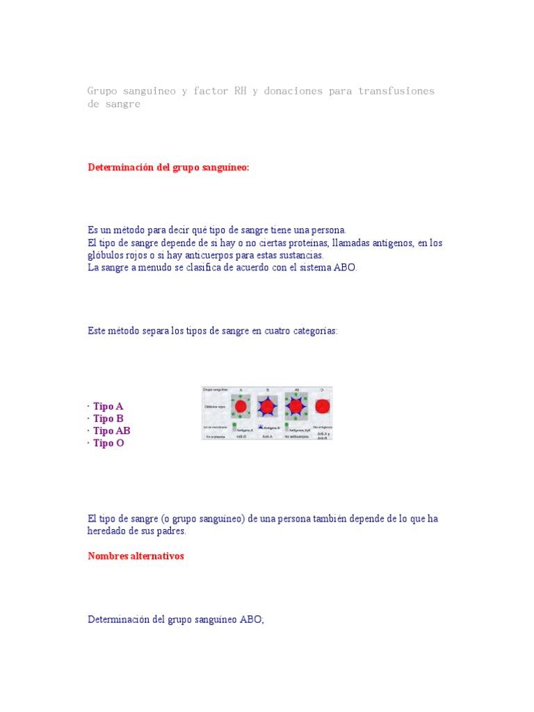 factor rh y grupo sanguineo