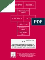Autores Latinoamericanos en Publicaciones Cientificas Españolas