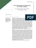 Epistemologia de Salud Colectiva Aspectos Sociologicos