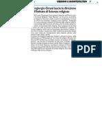 Piergiorgio Grassi lascia la presidenza di Scienze Religiose - Il Resto del Carlino del 28 settembre 2014