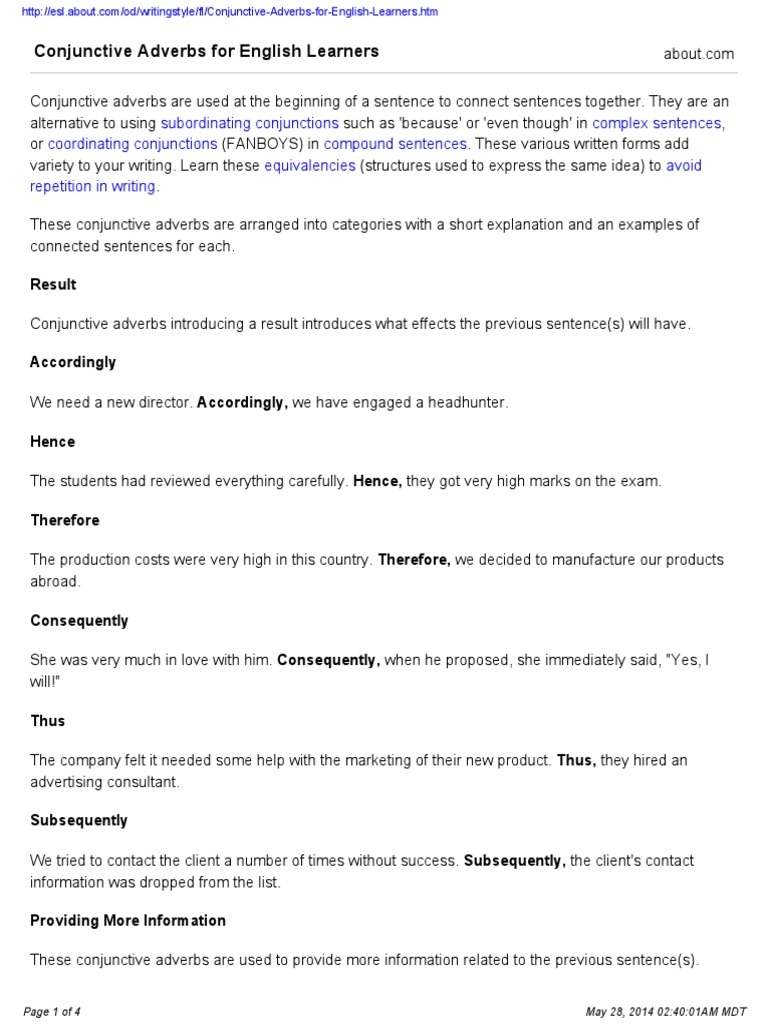 conjunctive adverbs for english learners english grammar cognition