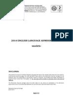 Modele de Test Admitere Engleza - 2014