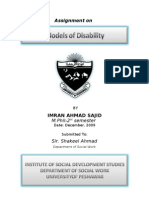 Assignment on Models of Disability-Imran Ahmad Sajid