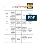 rubric for human body systems project