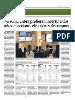 Personas Ahora Prefieren Invertir a Dos Años en Acciones Eléctricas y de Consumo_Gestión 29-09-2014
